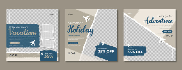 Fototapeta Holiday travel social media banner template design. Travelling, tour or tourism business online marketing web post or poster. Summer beach traveling flyer with logo, icon, abstract background.         obraz