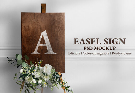Wedding Sign Mockup in Wooden Texture with Flowers