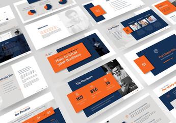 Fototapeta Business Profile Presentation with Blue, Orange and Gray Accents obraz