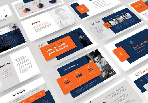 Business Profile Presentation with Blue, Orange and Gray Accents