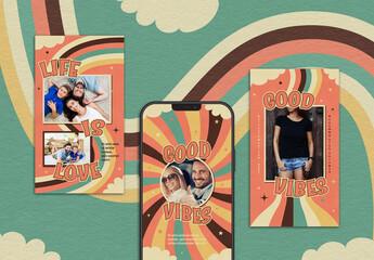 Obraz Groovy 70's Style Abstract Retro Rainbow Instagram Story Covers Layout - fototapety do salonu