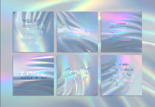 Social Media Quotes Design Layout with Modern Iridescent Holographic Backdrop