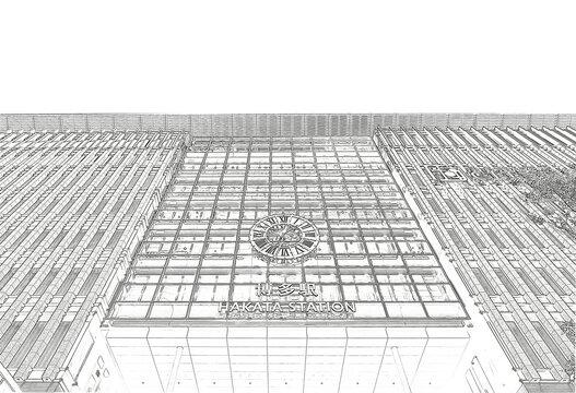 福岡県にある博多駅の外観イラスト
