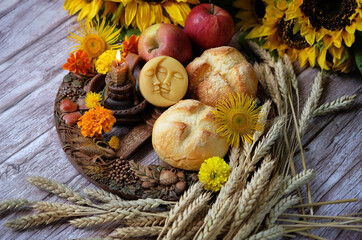 Wiccan Altar for Lammas, Lughnasadh pagan holiday. wheel of the year with ears of wheat, homemade...
