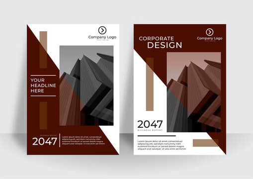 Business cover design template with geometric shapes. Brown flat design. Suit for corporate report, banner, poster, flier, and more