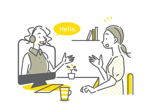 自宅でオンライン英会話のレッスンを受ける女性のイラスト シンプルでお洒落な線画