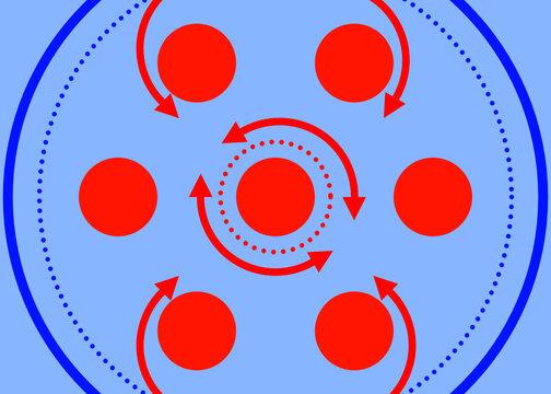 Kreisverkehr in rot und blau