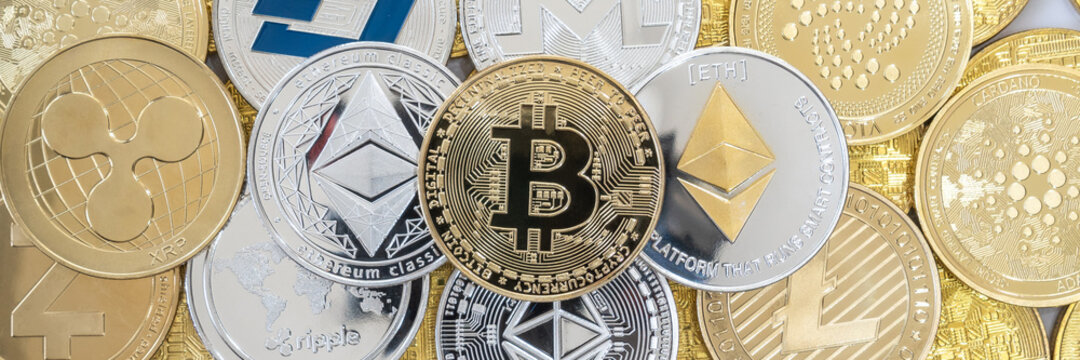 Bangkok, Thailand - 16 April 2021: Cryptocurrency on Binance trading app, Bitcoin BTC with altcoin digital coin crypto currency, BNB, Ethereum, Dogecoin, Cardano, defi p2p decentralized fintech market
