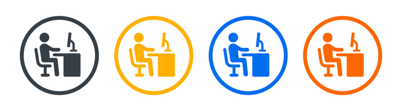 Employee working on computer desk icon vector illustration. Workplace symbol.