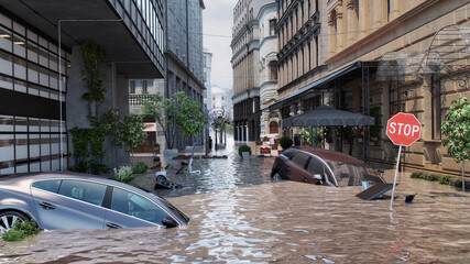 Obraz Europe floods: extreme rainfall caused rivers to burst their banks. Flood with high water disaster in Europe, flooding houses, submerged vehicles with rising water. Global warming, climate change 3D - fototapety do salonu