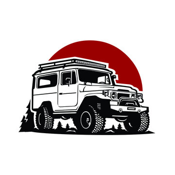 Adventure SUV in Outdoor Background Vector Isolated