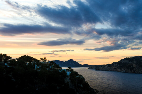 Bay of Port Andratx on Mallorca by night