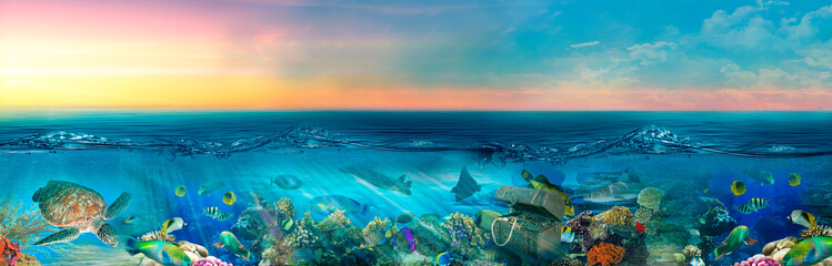 Design for children. Beautiful seascape. Underwater world and treasures. A fabulous ship at sunset. Children's photo wallpapers. Children's room. Wallpaper for the room. Wallpapers for children.