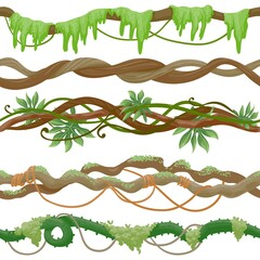 Seamless jungle vine on branch. Wild tropical tree with liana, leaves and moss. Green creeper plant stem. Cartoon rainforest vector pattern