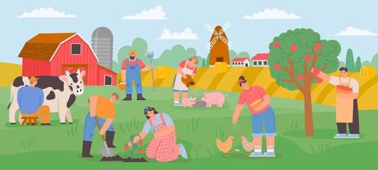 Fototapeta Farming landscape with workers. Countryside farmer community feed animals, milk cow and grow vegetables and fruits. Flat farm vector concept obraz