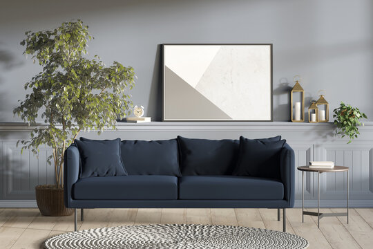 Light blue modern room with horizontal poster, decor, plant on the wall panel, a tree in a pot and a coffee table next to a dark blue sofa, a round knitted rug on a wooden floor. Front view. 3d render