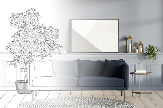 A sketch becomes a real blue modern room with a horizontal poster and decor on the wall panel, a tree in a pot and a coffee table next to a dark sofa, a round knitted rug on a wooden floor. 3d render