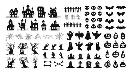 Obraz Halloween silhouettes. Spooky decorations zombie hands, scary tree, ghosts, haunted house, pumpkin faces and graveyard tombstones vector set - fototapety do salonu