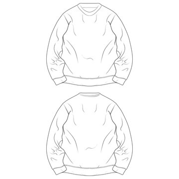 crewneck oversized outline drawing vector, crewneck oversized in a sketch style, trainers template outline, vector Illustration.