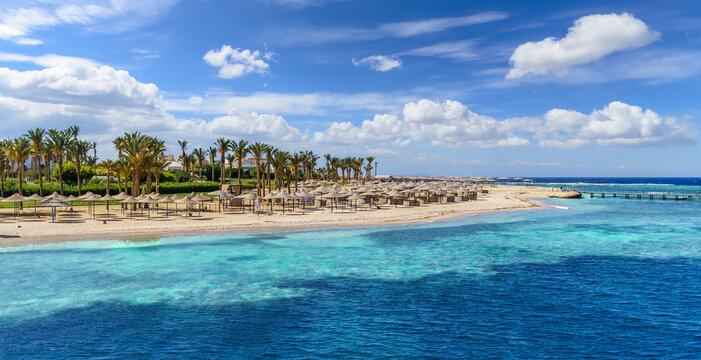 Landscape with beach in Port Ghalib, Marsa Alam, Egypt