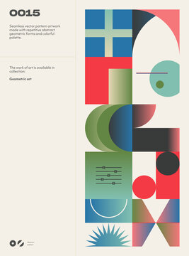 Abstract art geometrical poster design layout with text and graphics