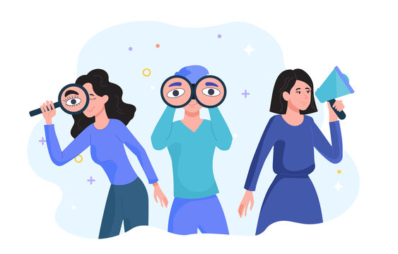 Search for employees concept. Women with a magnifying glass, binoculars and a megaphone announce the recruitment of people for a new position in the company. Free workplace. Flat vector illustration