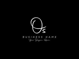 Obraz Letter OS Logo, signature os logo icon vector image design for business - fototapety do salonu