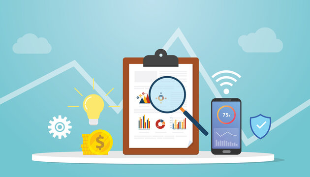 business intelligence concept with graph chart and technology with modern flat style