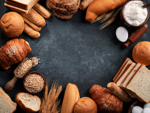 Bakery products on black rustic background