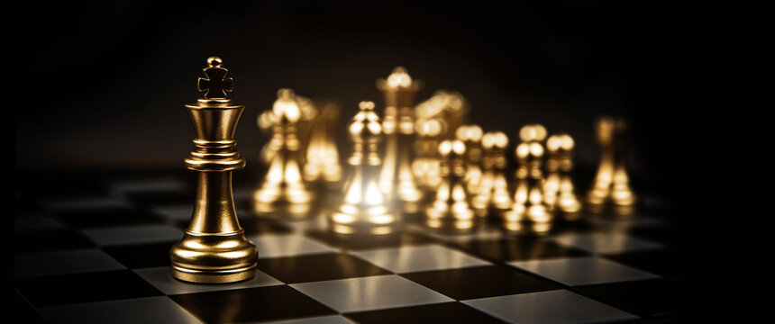 Close-up king chess standing first in line teamwork on chess board concepts of business team and leadership strategy and organization risk management.