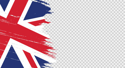 Fototapeta UK flag with brush paint textured isolated  on png or transparent  background,Symbols of  United Kingdom,Great Britain,template for banner,card,advertising ,promote, TV commercial, ads, web, vector obraz
