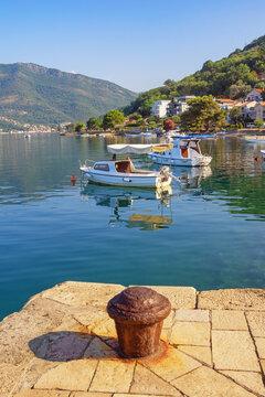 Beautiful Mediterranean landscape on sunny summer day. Montenegro, Adriatic Sea, Bay of Kotor, Tivat, view of Donja Lastva village