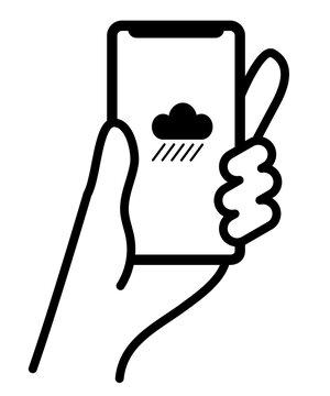 雨雲アイコンが表示されたスマートフォンを持つ手のベクターイラスト