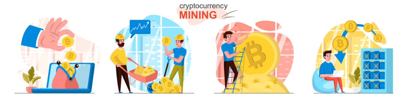 Cryptocurrency mining concept scenes set. Miners create digital money or bitcoins, blockchain tech, increase profits. Collection of people activities. Vector illustration of characters in flat design