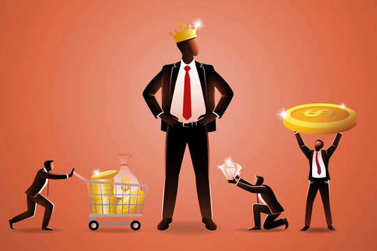 Vector illustration of business concept, several small businessman carrying various of wealth to given to giant businessman who wearing golden crown