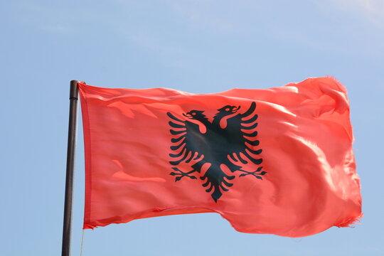 Waving flag of Albania