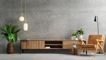 Fototapeta Living room interior have cabinet for tv and leather armchair in cement room with concrete wall. obraz