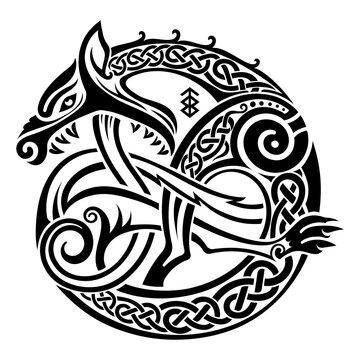Scandinavian Viking design. Illustration of a mythological beast - Fenrir Wolf in Celtic Scandinavian style
