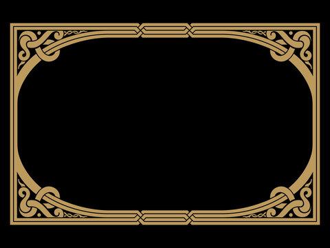 Scandinavian Viking design. Hand drawn frame in Ancient Celtic Scandinavian style