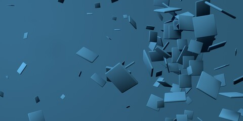 3D render of different size of square shapes