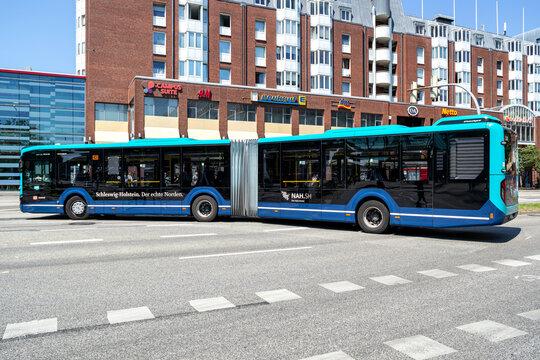 KIEL, GERMANY - JUNE 17, 2021: NAH.SH MAN Lion's City articulated bus