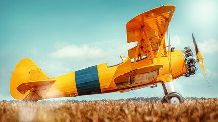 Fototapeta sideview of an historical biplane obraz