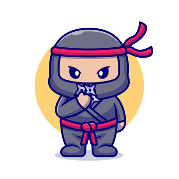 Cute Ninja With Shuriken Cartoon Flat Cartoon Style