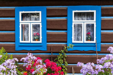 Fototapeta Old wooden houses in village Osturna, Spiska magura region, Slovakia obraz