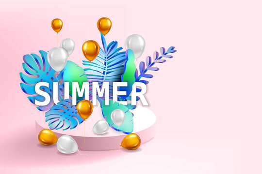 3D Tropical leaves scene podium with text Summer, balloons gold and white, botanical background. Render vector foliag,e pedestal, stage illustration template