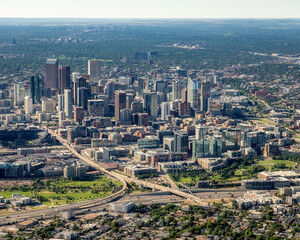 Fototapeta Denver Colorado downtown district as seen from a plane obraz