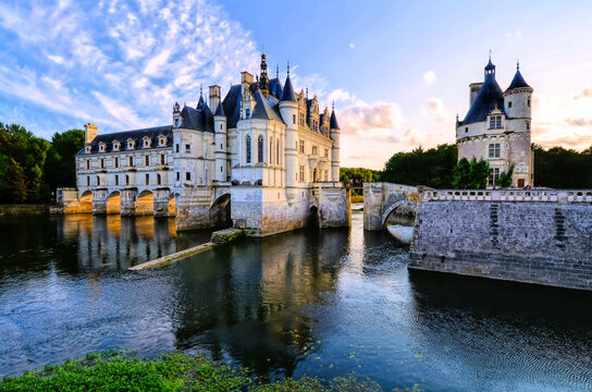 Beautiful Chateau Chenonceau and tower with reflections near sunset, Loire Valley, France