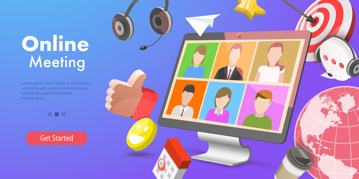3D Vector Conceptual Illustration of Online Video Meeting, Remote Working From Home