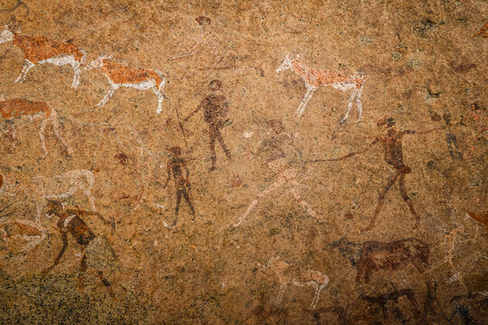 Famous prehistoric cave painting known as the White Lady of Brandberg dating back at least 2000 years and located at the foot of Brandberg Mountain in Damaraland, Namibia, Africa.