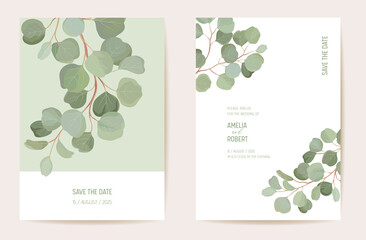 Fototapeta Botanical wedding invitation card template design, tropical leaves greenery frame set obraz